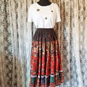 Vintage Tribal Novelty Print Cotton Full Skirt